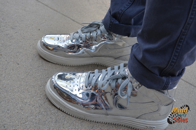 timeless design 88ab7 abf48 ... GOLD- Nike Lunar Force 1 Liquid Silver high top shoe ...